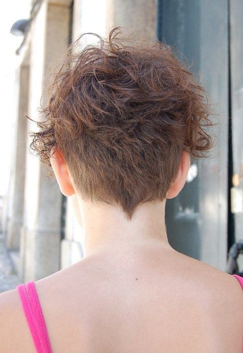 Back View of Chic Short Curly Hairstyle for Women