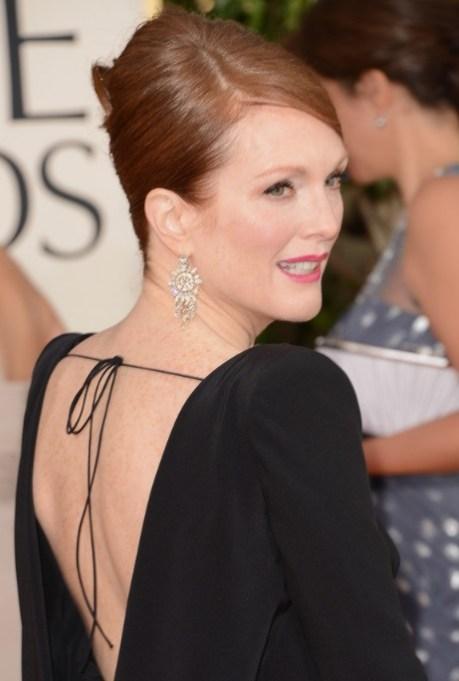 Golden Globe Awards 2013 Hairstyles: Julianne Moore Simple Sleek Beehive Updo