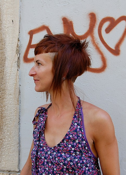 Modern Short Long Hairstyle with Blunt Bangs