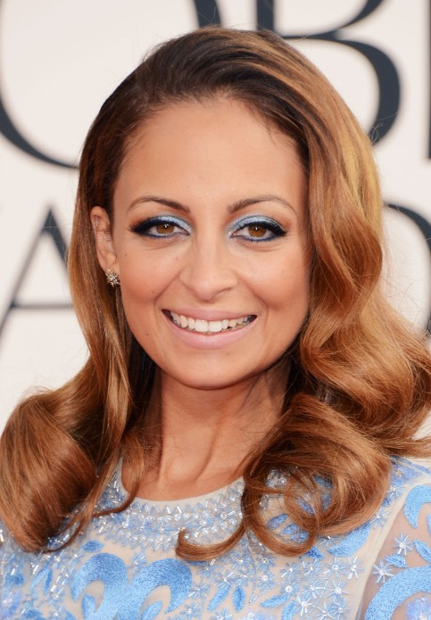 Nicole Richie Long Copper Side Parted Hairstyle - 2013 Golden Globe Awards Hairstyles