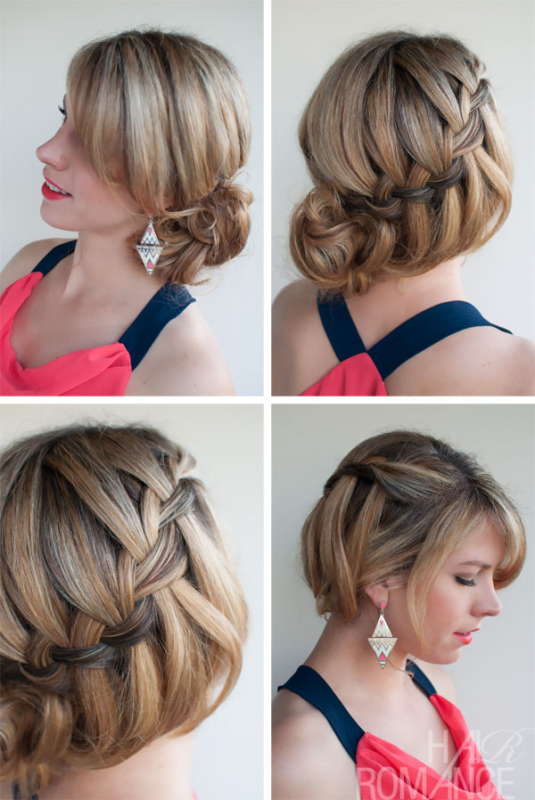 Sexy Loose Waterfall Braided Bun Updo