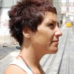 Short Red Pixie Cut for Summer - Side View of Boyish Short Red Pixie Cut
