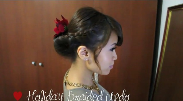 Side View of Braided Updo for Holidays