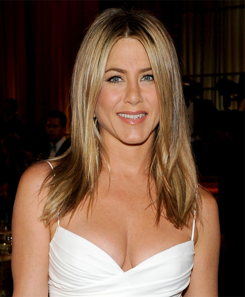 Jennifer Aniston center parted long sleek hairstyle