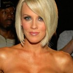 Jenny McCarthy short sleek blonde bob haircut with side swept bangs