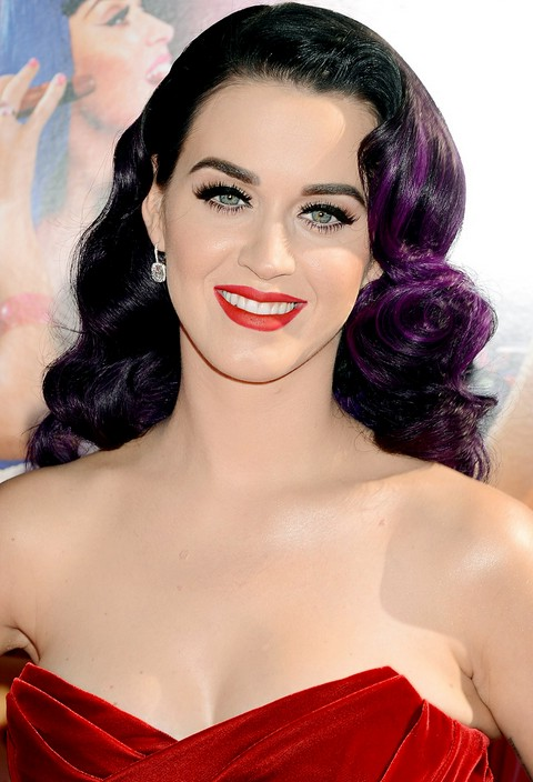 Katy Perry Hairstyle Purple Accents In Hollywood Glamour