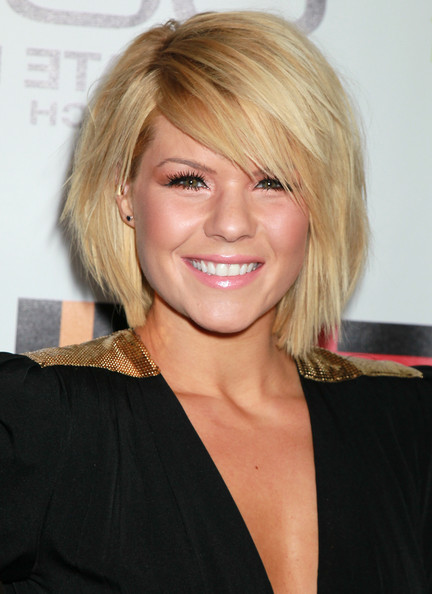 Kimberly Caldwell short blonde bob hairstyle with side swept bangs