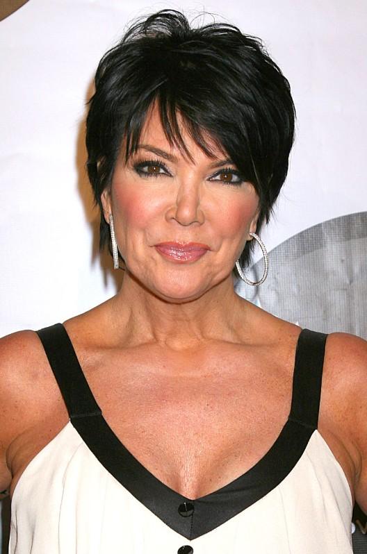 Kris Jenner short black pixie cut for women over 50