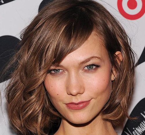 Long Brown Wavy Bob Hairstyle wtih Side Swept Bangs