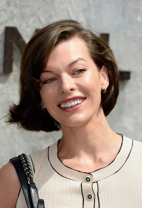 Milla Jovovich Short Haircut for 2015 - Deep Side Parted Short Hairstyle