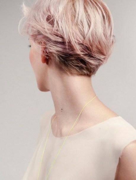 Pink Short Hairstyle 2015 - Back View of Layered Short Haircut