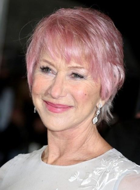 Helen Mirren Pink Short Hair - Short Hairstyle for Women Over 60s