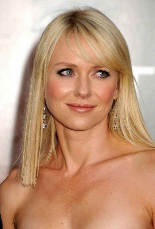 Naomi Watts long blonde straight hairstyle for women