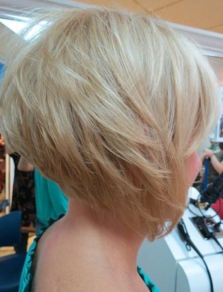 Side View of Graduated Bob - Cute Layered Platinum Blonde Short Haircut