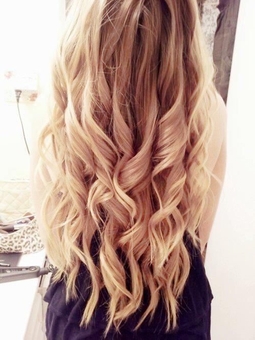 Back View of Soft Curly Ombre Hair