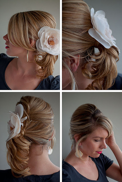 Twist and Pin side ponytail with corsage