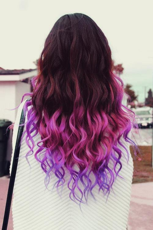 Back View of Brown, Pink, Purple Ombre Hair