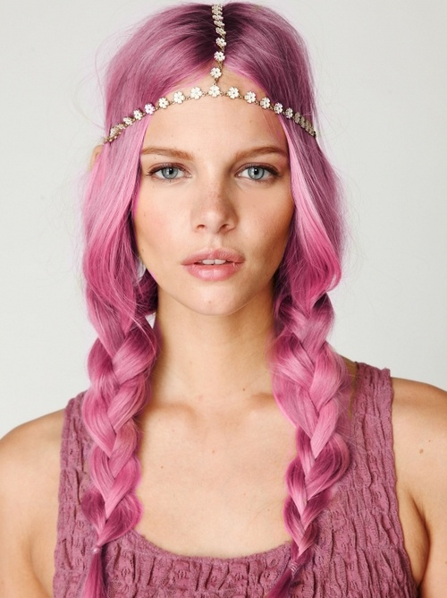Braided pink hairstyles for long hair