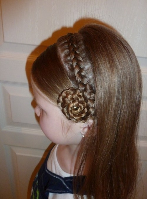 Side View of Cute Braided Hairstyle for Little Girls