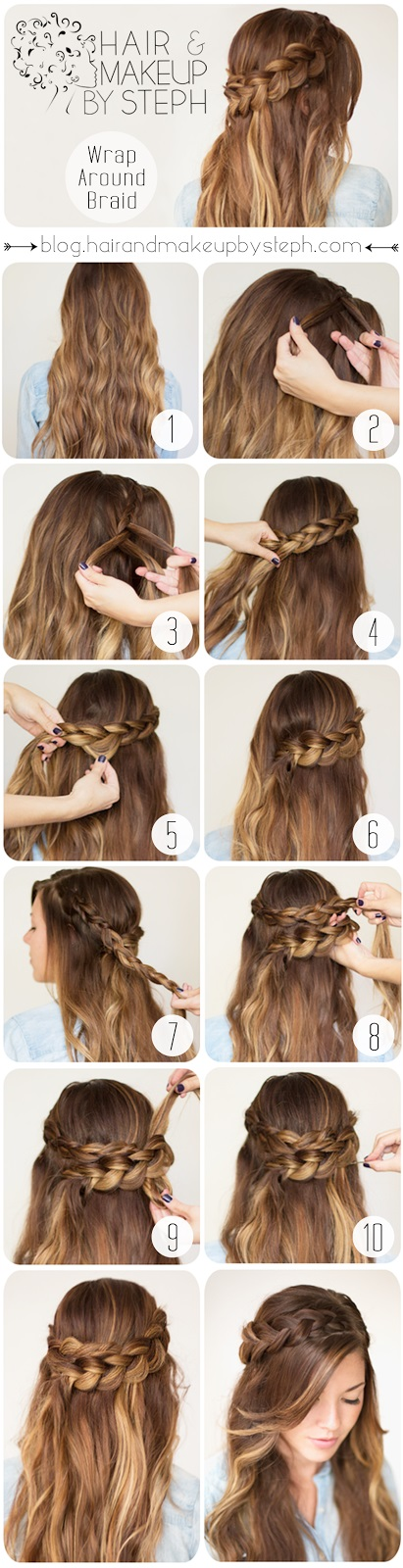 DIY Hairstyles:  Cute Wrap Around Braid for Spring