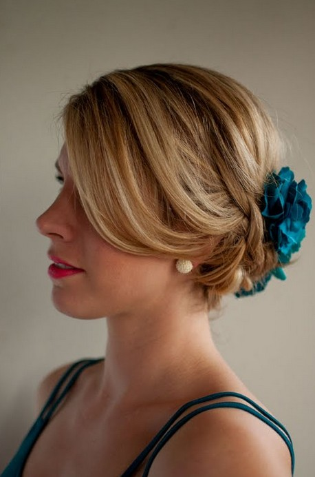 Braided Updo with Blue Hair Accessory