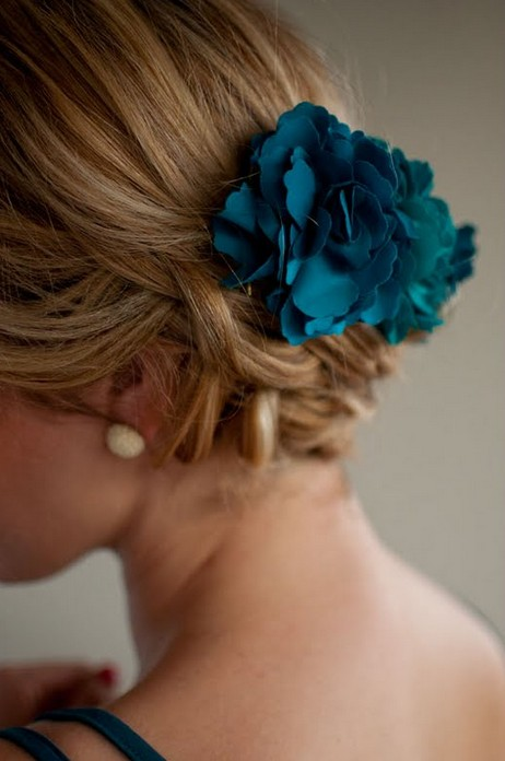 Side View of Braided Updo with Blue Hair Accessory