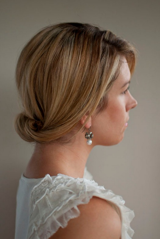 Simple Smooth Updo for Wedding