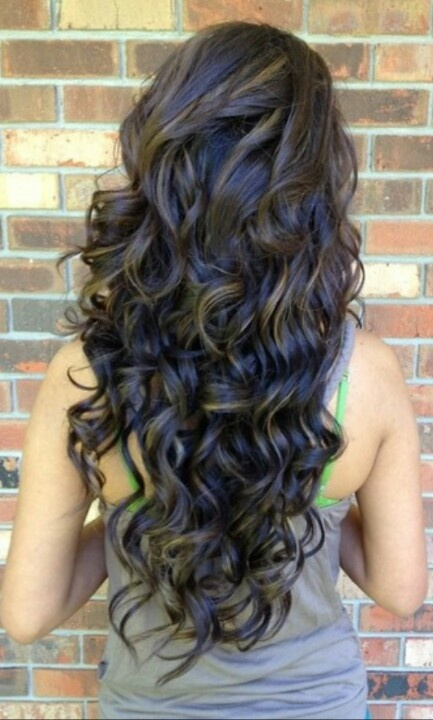 Back View of Highlighted Long Black Curly Hairstyle for Girls