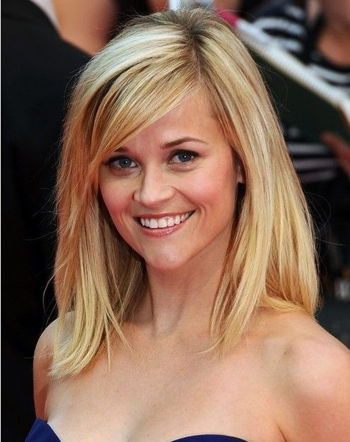 Celebrity Layered Hairstyle with Side Swept Bangs for Women