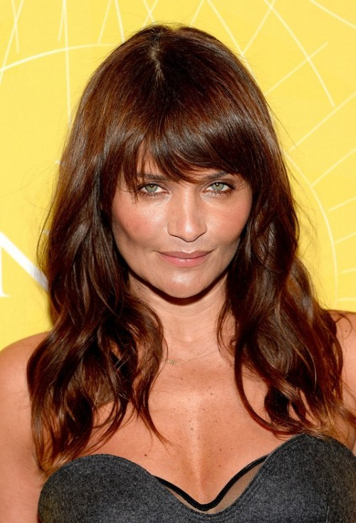 Helena Christensen Long Wavy Cut with Bangs for Thick Hair