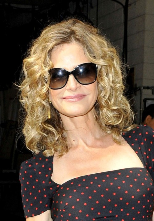 Kyra Sedgwick Medium Blonde Curly Hairstyle for Thick Hair