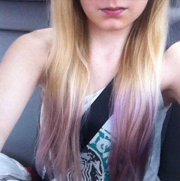 lavender-blonde dip dye for Summer
