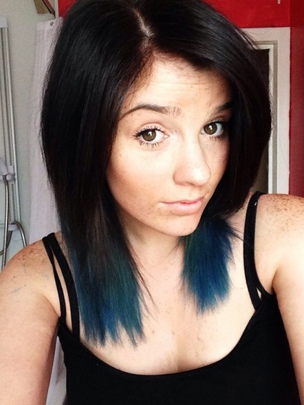 subtle with dark blue ends for medium legnth hair