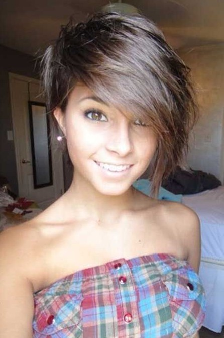 Adorable Short Haircut with Long Bangs for Girls