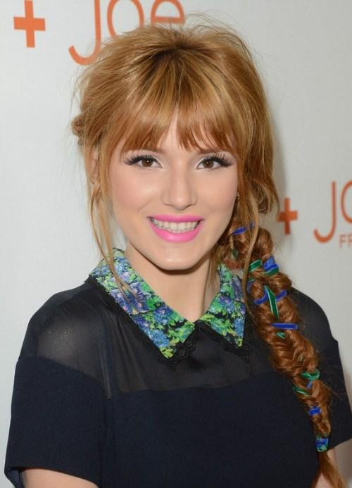 Bella Thorne Stylish Long Braid with Wispy Bangs for Winter