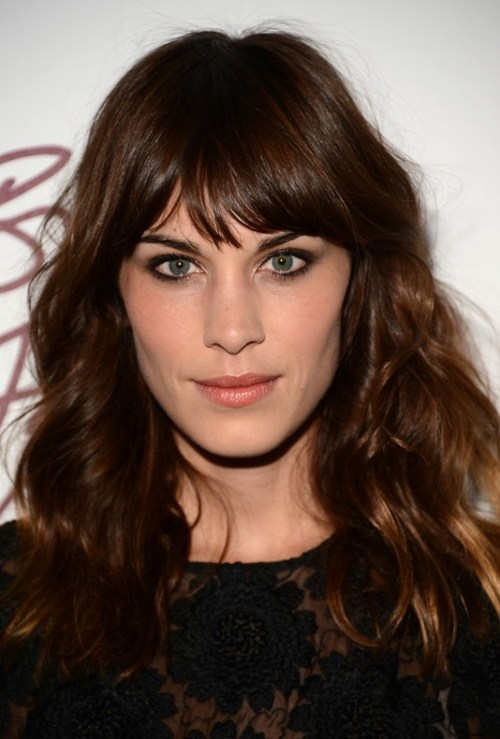 Alexa Chung Latest Hairstyles - Dark Brown Wavy Hairstyle with Bangs for Winter