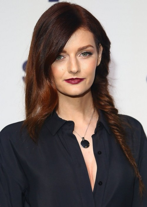 Lydia Hearst With One Side Fishbone Braid for Winter
