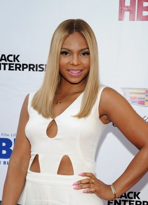 Ashanti Latest Long Blonde Straight Hairstyle for Black Women