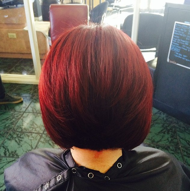 Back View of Red Bob Hairstyle