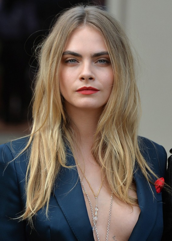 Cara Delevingne Long Center Part Hairstyle for 2015