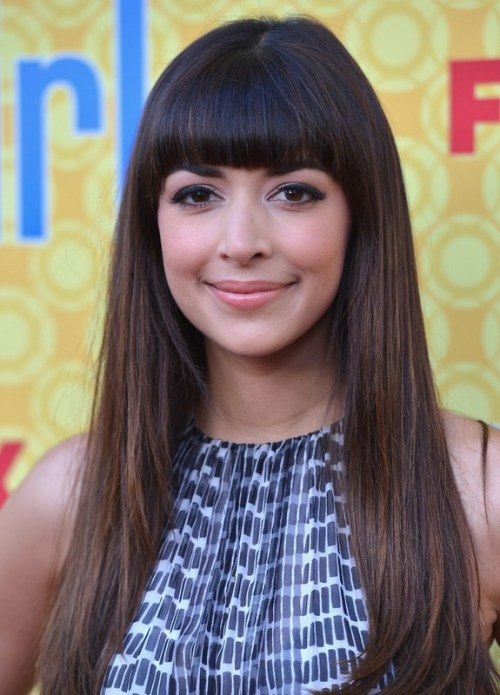 Hannah Simone Chic Long Sleek Straight Hairstyle with Blunt Bangs for Thick Hair