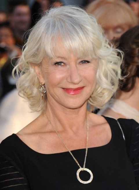 Helen Mirren Medium Blonde Curly Hairstlye for Women Over 60