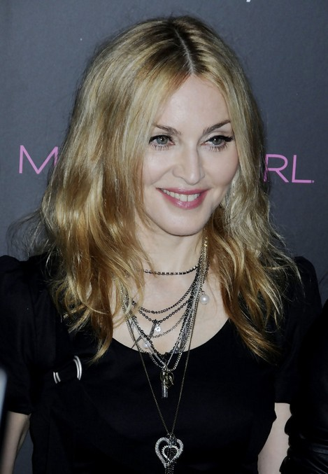 Madonna Medium Straight Hairstyle for Women Over 50