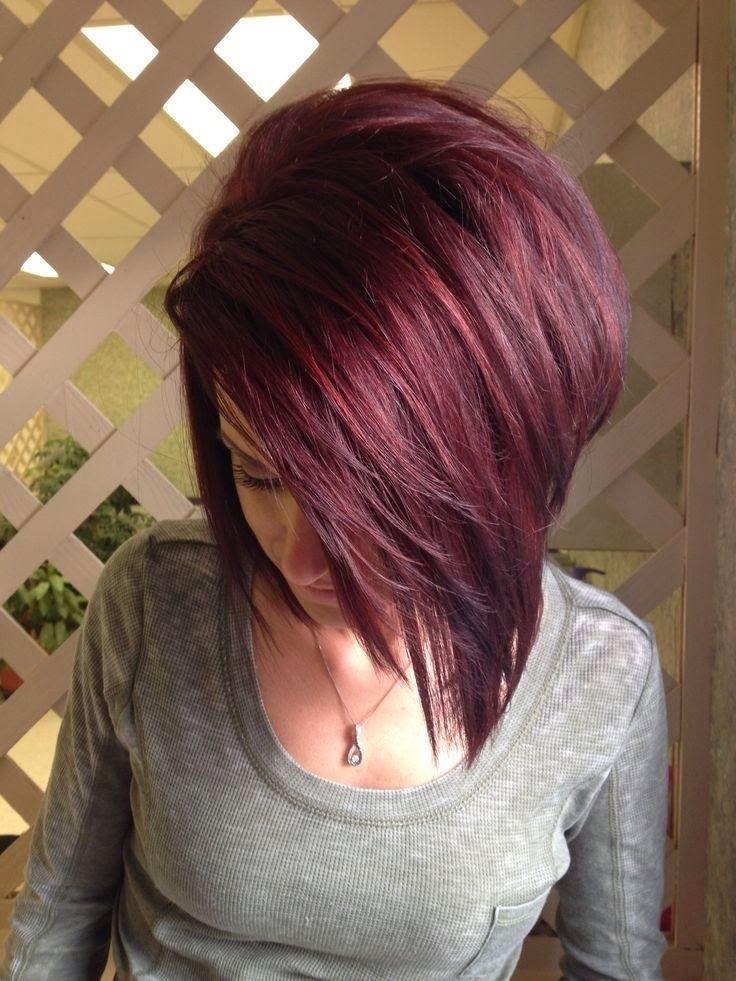 Sexy medium red straight bob haircut