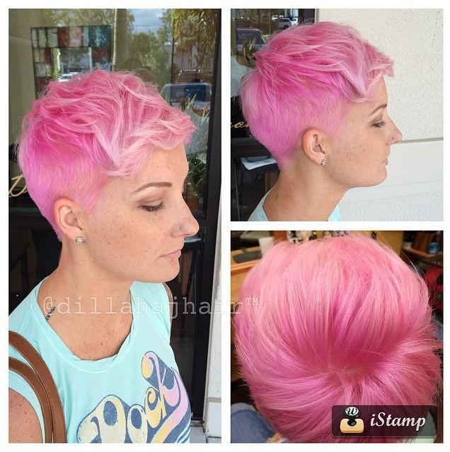 Short Pink Haircut for Women