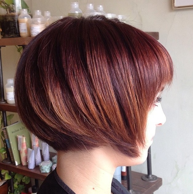 Side View of Brunette Graduated Bob Haircut