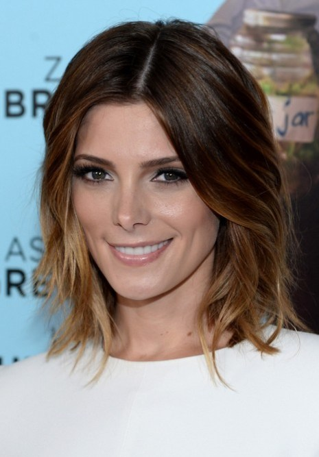 Ashley Greene Short Layered Ombre Bob Hairstyle for Women