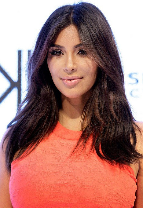 Kim Kardashian Long Center Parting Wavy Hairstyle for Thick Hair