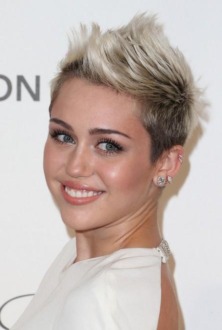 Miley Cyrus Short Spiky Fauxhawk Haircut for Women