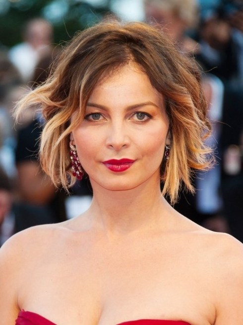 Violante Placido Short Ombre Curly Hairstyle